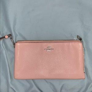 Authentic Pink coach wristlet— double zipper